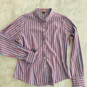 Thomas Pink Ladies Dress Shirt Blue Red Stripe 16